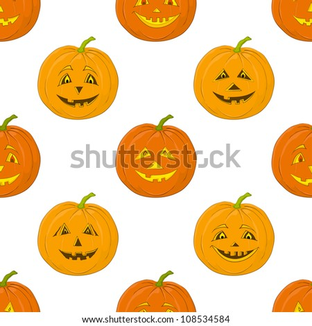 Seamless background, symbol of the holiday of Halloween pumpkins Jack O Lantern, isolated on white. Vector - stock vector