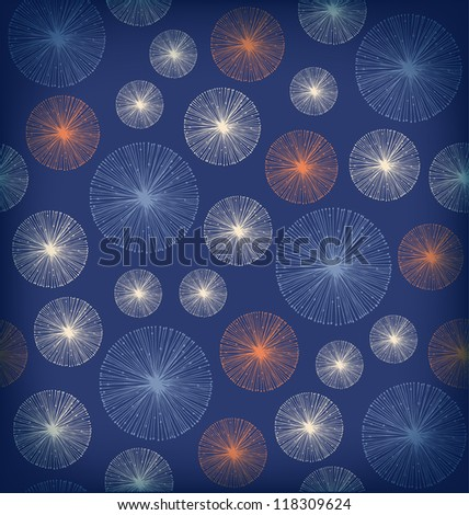 Seamless background texture with circles. Endless abstract pattern. Snowflakes. Snowfall - stock vector