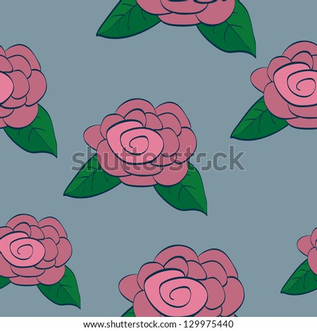 Seamless background tile with dusty pink roses in a hand drawn style. - stock vector