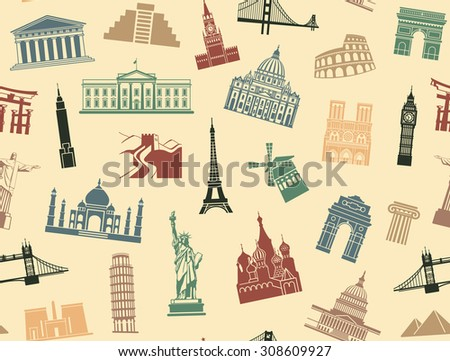 Seamless background tourist attractions