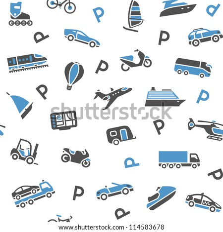 Seamless background transport icons - wrapping paper, 10eps - stock vector