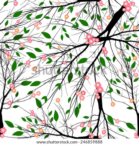 Seamless background tree cherry blossoms. Vector - stock vector