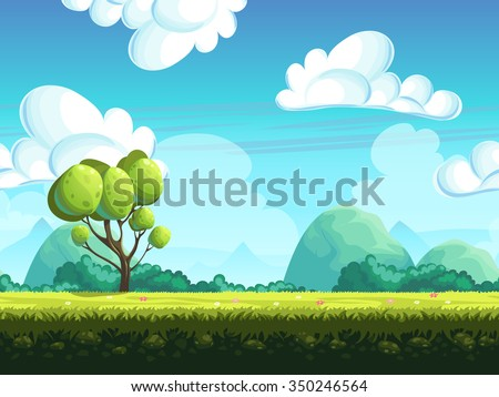 Seamless background trees and stones from the hills - stock vector