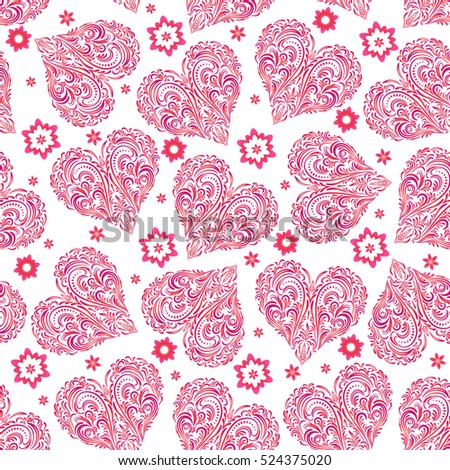 Seamless Background, Valentine Holiday Hearts with Floral Pattern of Pink Symbolical Flowers and Plants. Vector