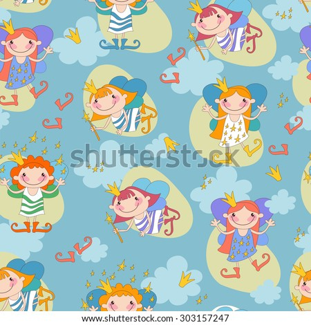 Seamless background vector illustration girls fairy on a blue background. Fairy with a magic wand and the stars of heaven, fairy with fiery hair.