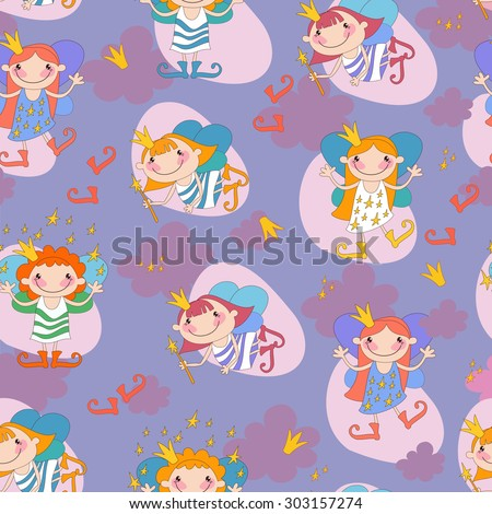 Seamless background vector illustration girls fairy on a pink background.