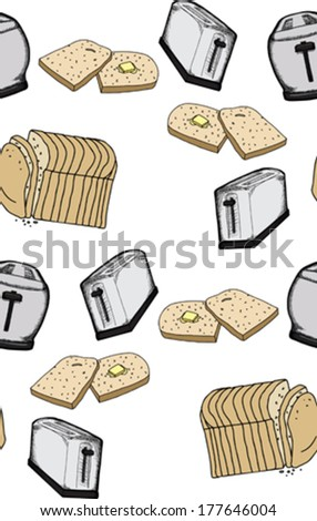 Seamless background wallpaper pattern of toast and toasters
