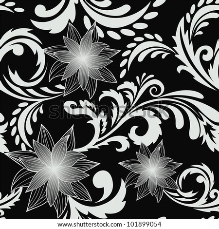 seamless background with a delicious floral ornaments - stock vector