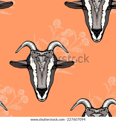 seamless background with a goat's looking forward head and floral elements