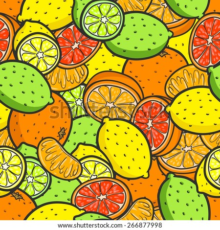 Seamless background with a pattern of citrus fruits. Orange, lemon, mandarin, lime, grapefruit.