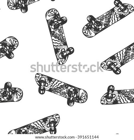 Seamless background with a pattern of colored skateboard.Vector illustration - stock vector