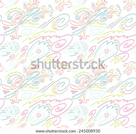 Seamless background with a pattern of flowers, waves and shells. Linear pattern. White background with colored lines - stock vector