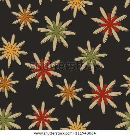Seamless background with a retro flower pattern in dark colours.