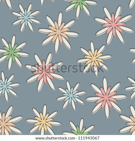 Seamless background with a retro flower pattern in pastel colours.