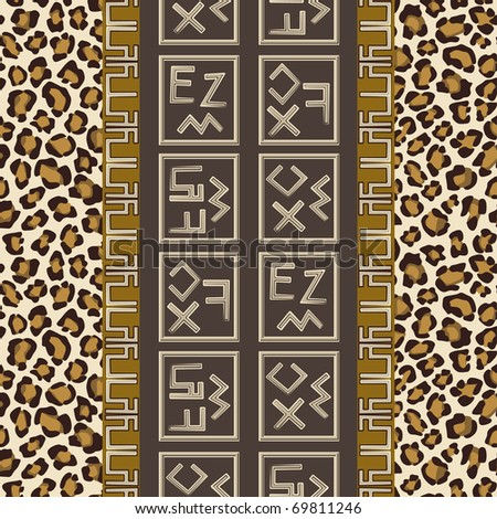Seamless background with abstract signs and leopard skin pattern - stock vector