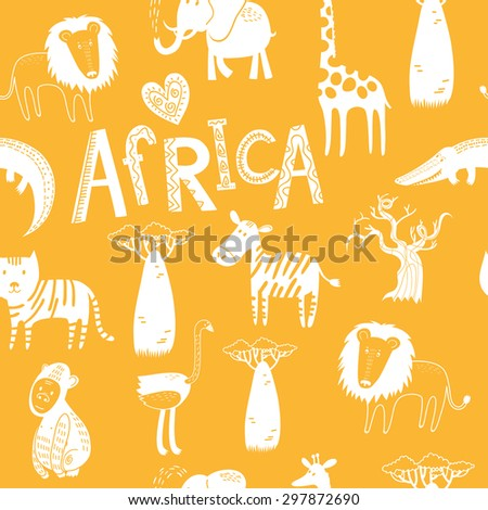 Seamless background with Africa animals. Cute tiger, alligator, lion, elephant, ostrich, baobab, zebra in cartoon style. - stock vector