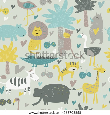 Seamless background with Africa animals. Cute tiger, monkey, alligator, lion, elephant, rhino, hippo, ostrich, palms, flowers, butterflies  and zebra in cartoon style. - stock vector