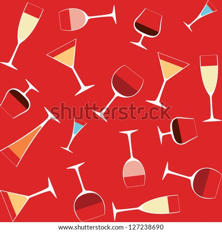 seamless background with alcohol in glasses - stock vector