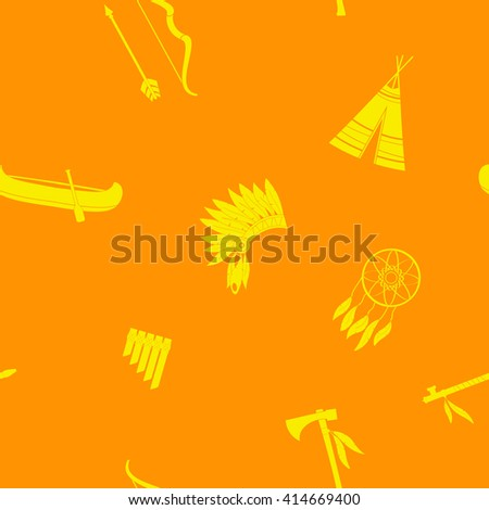 Seamless background with american indian icons for your design - stock vector