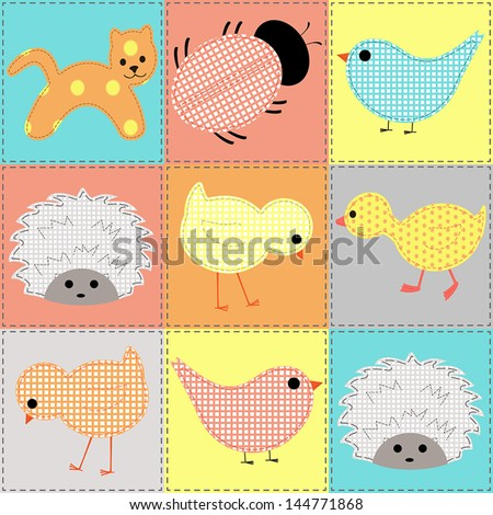 Seamless background with baby animals, patchwork - stock vector