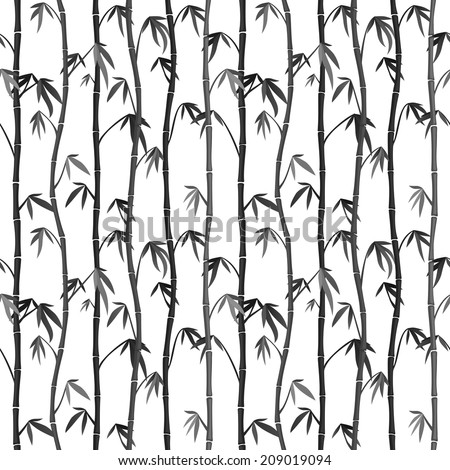 Seamless background with bamboo stems. Japanese Ink Painting Sumi-e - stock vector