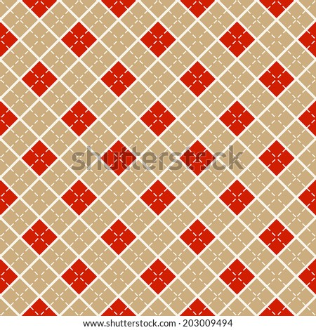 Seamless background with  beige and red diamonds. Vector pattern. - stock vector