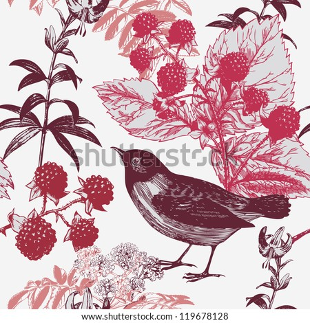 seamless background  with bird and berry - stock vector