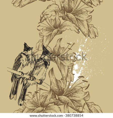 Seamless background with birds and lilies hand-drawing. Vector. - stock vector