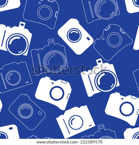 Seamless background with blue professional silhouette of cameras - stock vector
