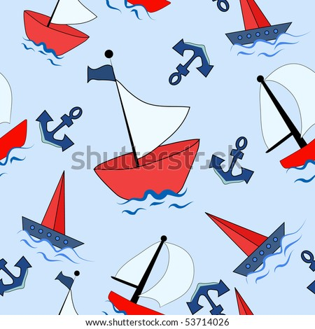 Seamless background with boats. - stock vector