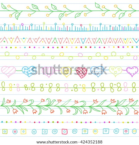 Seamless background with borders in doodle style (included hearts, flowers, ivy, flags and geometric elements). Can be used for doodle or hand drawn design