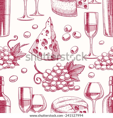 seamless background with bottles and glasses of wine, grapes and cheese - stock vector