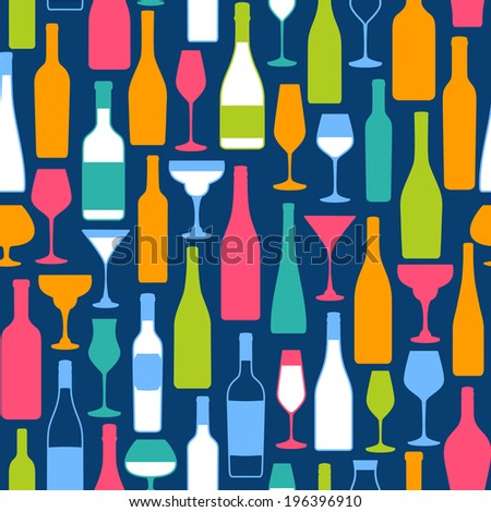 Seamless background with bottles and glasses silhouette