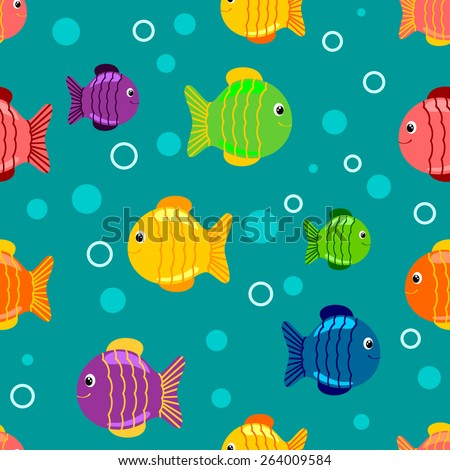 seamless background with bright fish - stock vector