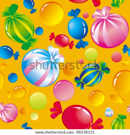 Seamless background with bright multi-coloured sweets and sugar candies - stock vector