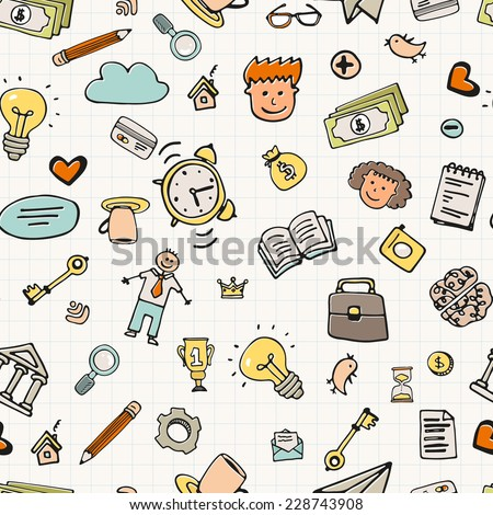 Seamless background with business doodle elements. Business hand drawn texture made in vector. Sketch style pattern. - stock vector