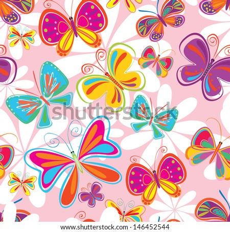seamless background with butterfly - stock vector
