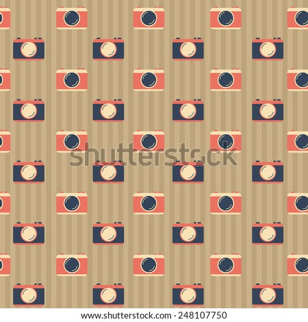 Seamless background with cameras for your design - stock vector