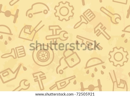 Seamless background with cars and spare parts - stock vector