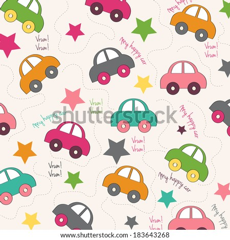 seamless background with cars, vector illustration
