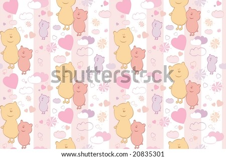 Seamless background with cartoon bears