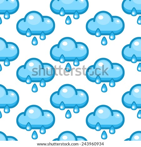Seamless background with cartoon clouds and rain drops - stock vector