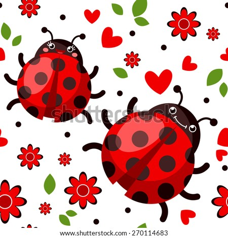 Seamless Background With Cartoon Happy Ladybugs Flowers Hearts And Leaves