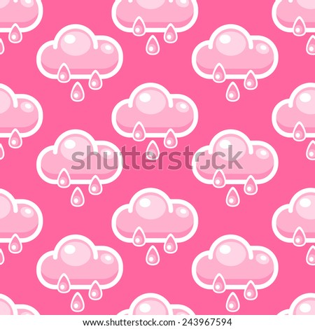 Seamless background with cartoon pink clouds and rain drops - stock vector