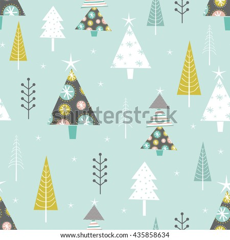 seamless background with christmas tree design - stock vector