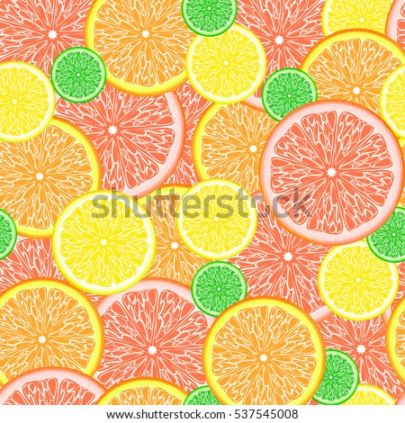 Seamless background with citrus fruits