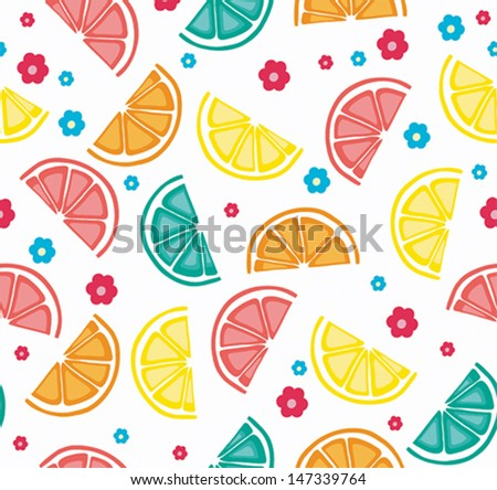 Seamless background with citrus fruits. Vector illustration. - stock vector