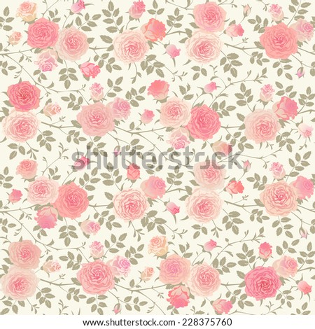 Seamless background with climbing roses. Floral vector pattern. - stock vector