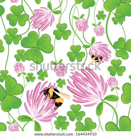 Seamless background with clovers - stock vector
