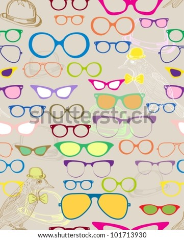 Seamless background with color eyeglasses,vector  illustration - stock vector